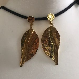 Hammered textured clip on golden leaf earrings
